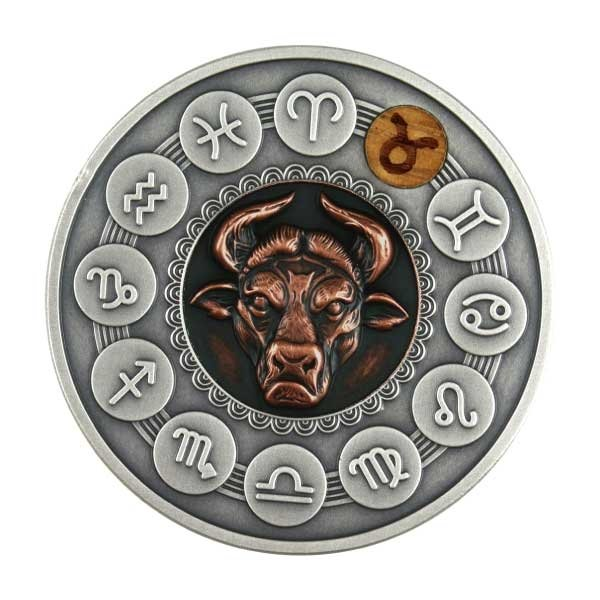 Taurus Zodiac Signs 1oz Antique finish Silver Coin 1$ Niue 2020