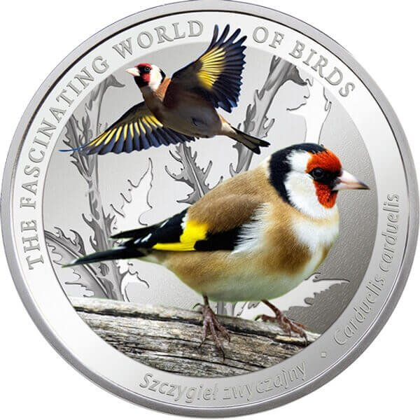 Goldfinch The Fascinating World Birds  Proof Silver Coin 1$ Niue 2017