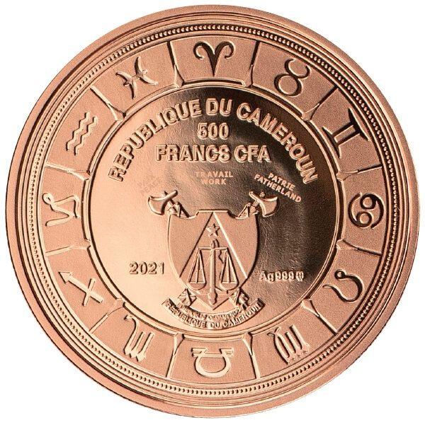 Gemini Zodiac Signs Proof Silver Coin 500 Francs CFA Cameroon 2021