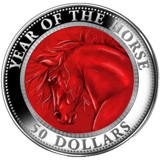 Cook Islands 2014 50$  Lunar 2014 - Year of the Horse 5 oz with Mother of Pearl Proof Silver Coin