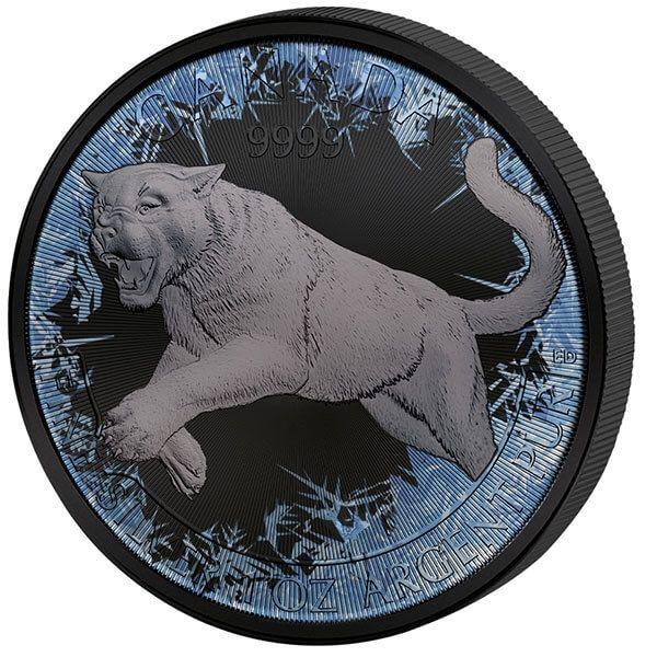 Deep Frozen Cougar 1 oz BU Silver Coin Canada 2018 5$