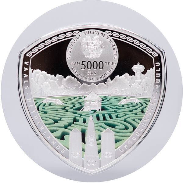 Armenia 2016  5000 dram The Labyrinths of the World - Vaals Labyrinth  2 oz Proof Silver Coin