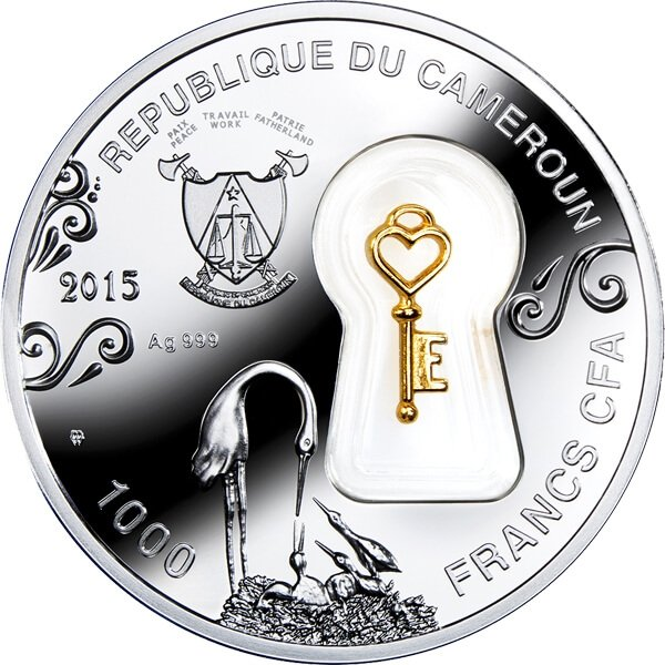 Cameroon 2015 1000 Francs Domestic Happiness Proof Silver Coin