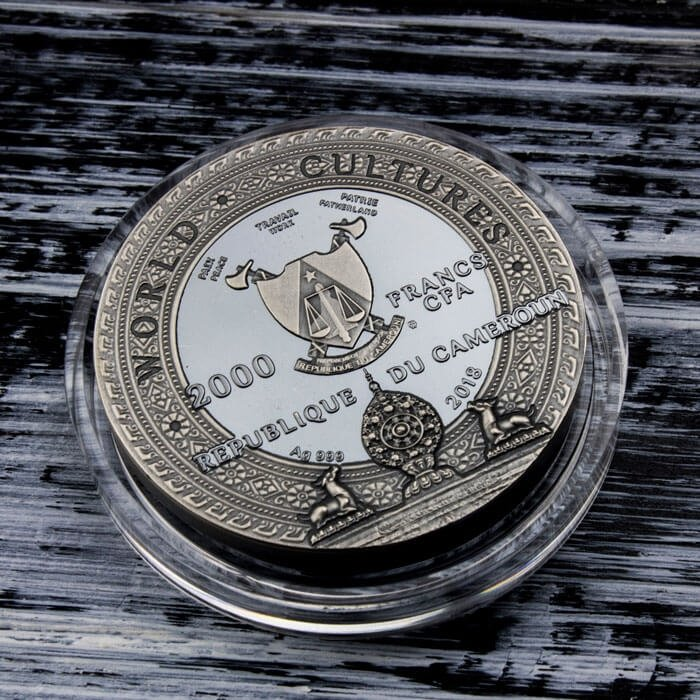 Kapala World Cultures 2 oz Antique Finish Silver Coin 2000 Francs Cameroon 2018