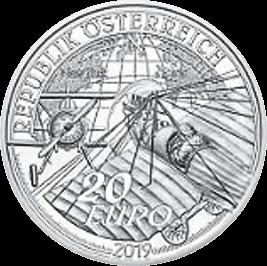 Motor Flight Proof Silver Coin 20 Euro Austria 2019