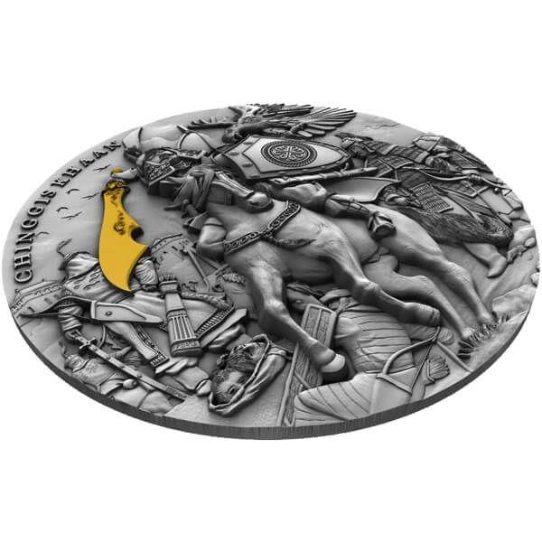 Chinggis Khaan 2 oz Antique finish Silver Coin 5$ Niue 2019