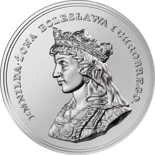 Królowa Emnilda, Żona Bolesława I Chrobrego 2 oz Antique finish Silver Coin 2$ Niue 2016