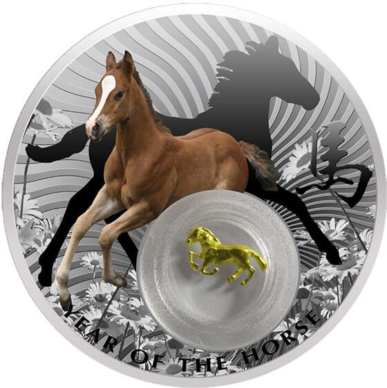 Chinese Calendar  Year of the Horse with filigree insert Proof Silver Coin 2$ Niue 2014