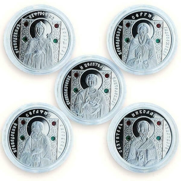 Orthodox Saints Proof Silver Set 5x10 rubles Belarus 2008