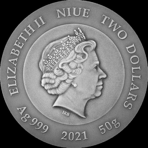 Crypto Mining 50 g Antique finish Silver Coin 2$ Niue 2021