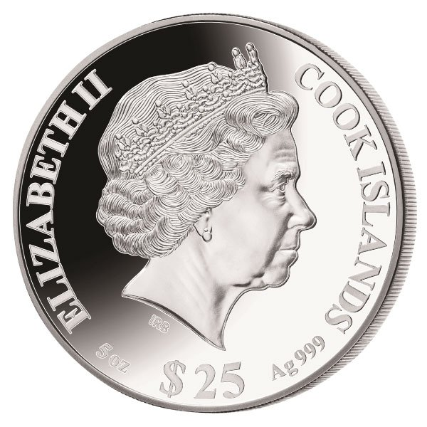 Year of the Tiger Mother of Pearl 5 oz Proof Silver Coin 25$ Cook Islands 2022