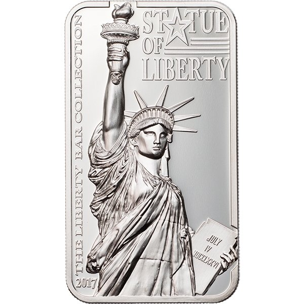 Cook Islands 2017 10$ Liberty Bar Collection Statue of Liberty 2 oz Proof Silver Coin