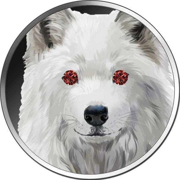 Diamond Wolf 1 oz BU Silver Coin 5 Cedis Republic of Ghana 2020