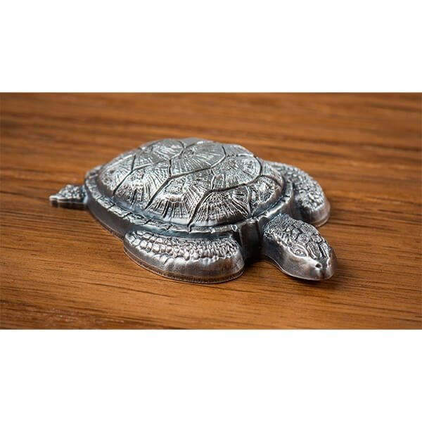 Palau 2017 10$ Sea Turtle-Shaped 45g  Antique Finish Silver Coin