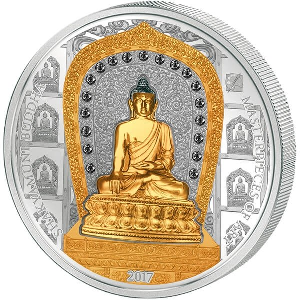Cook Islands 2017 20$ & 25$ Shakyamuni Buddha Masterpieces Of Art 3 oz Proof Silver and 1/4 oz Proof Gold Coin