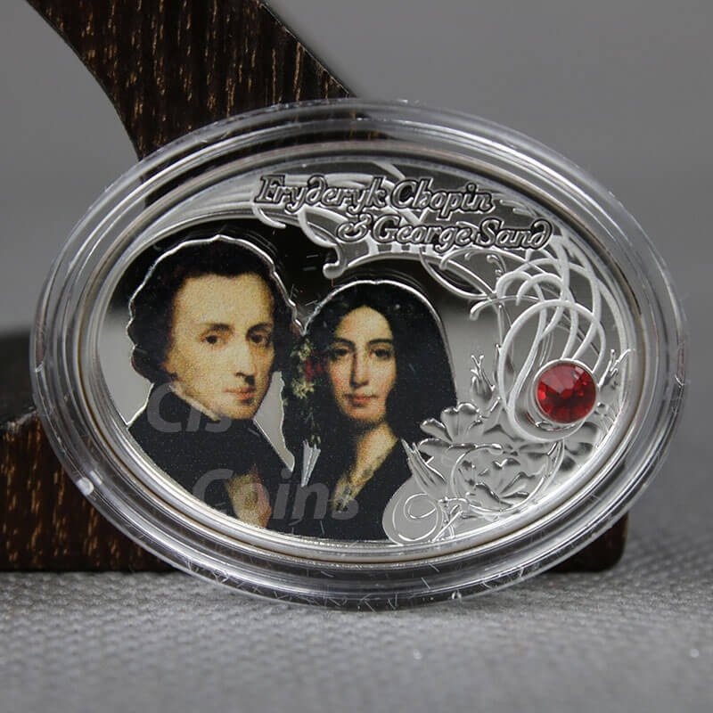 The Most Beautiful Polish Love Stories - Frederic Chopin&George Sand Proof Silver Coin 1$ Niue 2014