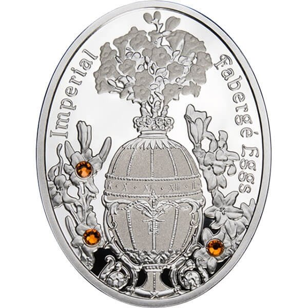 Lily Bouquet Egg Imperial Faberge Eggs Proof Silver Coin 1$ Niue 2012