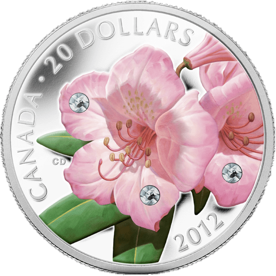Canada 2012 20$ Rhododendron Crystal Dew Drop (2012) Proof Silver Coin