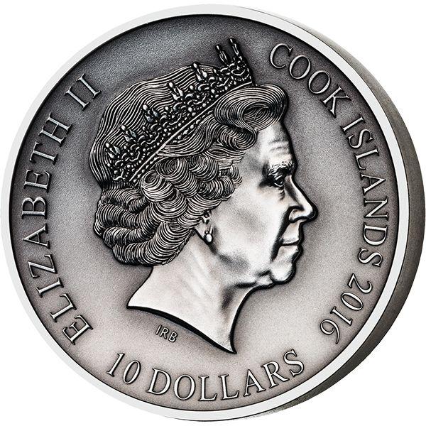 Cook Islands 2016 10$ The Norse Gods - Freyr 2 oz Antique finish Silver Coin
