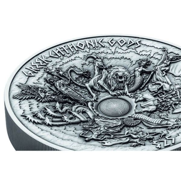 Samoa 2017 25$ Greek Chthonic Gods 1 Kilo Antique finish Silver Coin