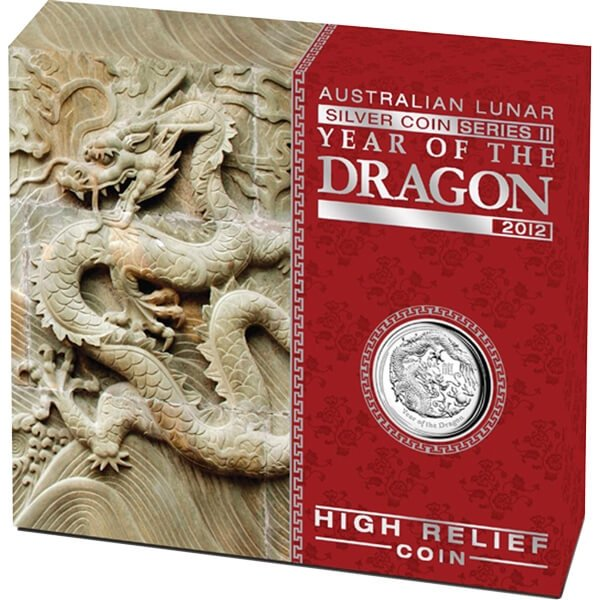 Australia 2012 1$ Year of the Dragon - High Relief Proof Silver Coin