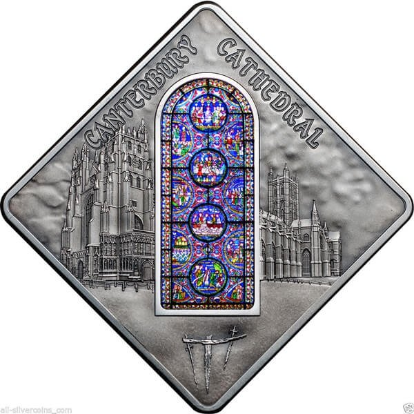 Canterburry Cathedral Stained Glass Windows 50g Antique finish Silver Coin 10$ Palau 2015
