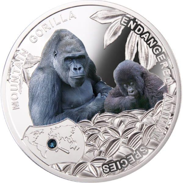 Mountain Gorilla - Endangered Animal Species 1/2 Oz Proof Silver Coin 1$ Niue 2014