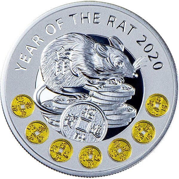 Year of the Rat Chinese Calendar Proof Silver Coin 1$ Niue 2020