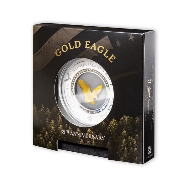 Gold Eagle Embracing Gold 2oz Proof-like Silver & 0.2g Gold Coin 5$ Solomon Islands 2021