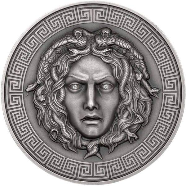 Medusa 3 oz Antique finish Silver Coin 3000 Francs CFA Cameroon 2019