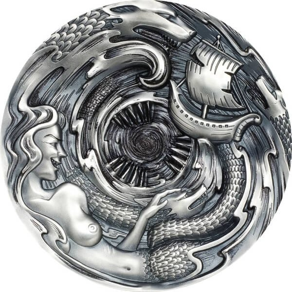 Scylla and Charybdis Evil Within 3 oz Antique Finish Silver Coin 20$ Palau 2020