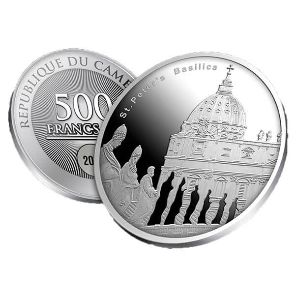 St. Peter's Basilica Proof Silver Coin 500 Francs Cameroon 2017