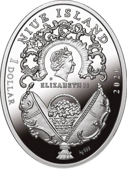 Rose Trellis Egg Imperial Faberge Eggs Proof Silver Coin 1$ Niue 2020