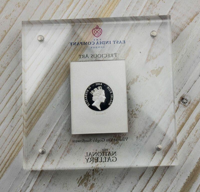 Niue 2014 5$ Vincent van Gogh's Sunflowers Rimless Colourprint Silver Coin