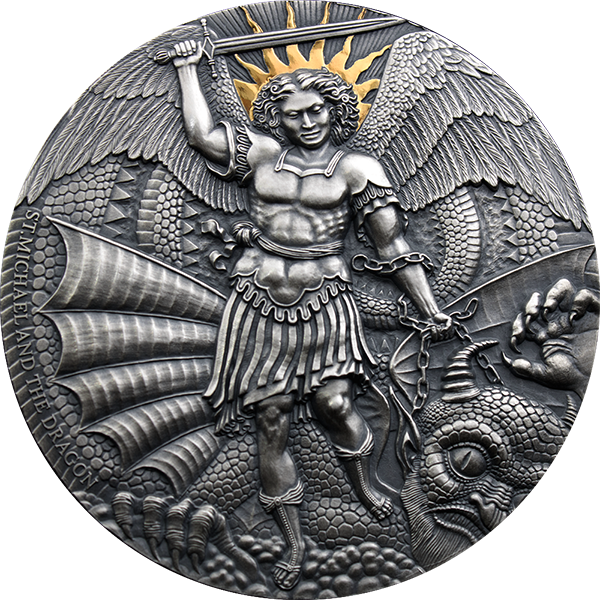 St. Michael and the Dragon Apocalypse 3 oz Antique finish Silver Coin 3000 Francs Cameroon 2020