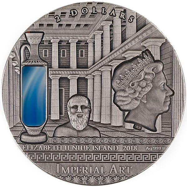 Greece Imperial Art 2 oz Antique finish Silver Coin 2$ Niue 2018