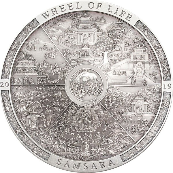 Samsara Wheel of Life Archeology & Symbolism 3 oz Antique finish Silver Coin 20$ Cook Islands 2019