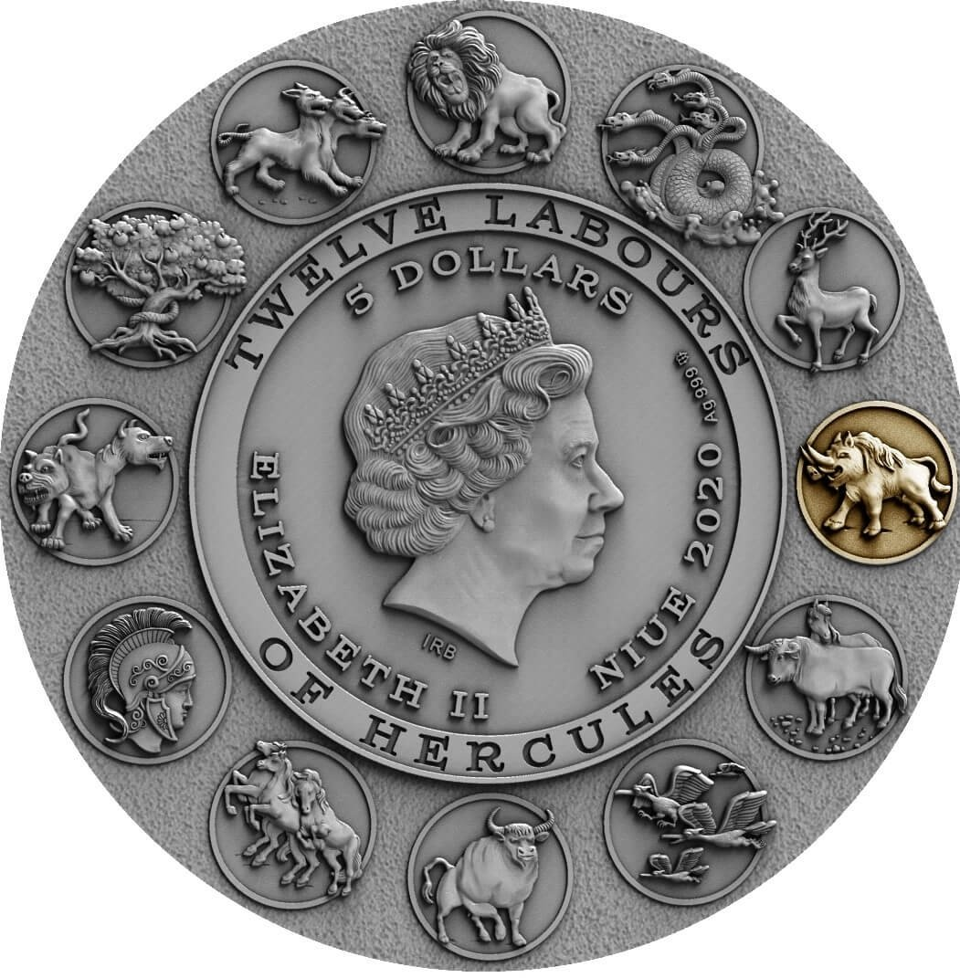 Erymanthian Boar Twelve Labours of Hercules 2 oz Antique finish Silver Coin 5$ Niue 2020