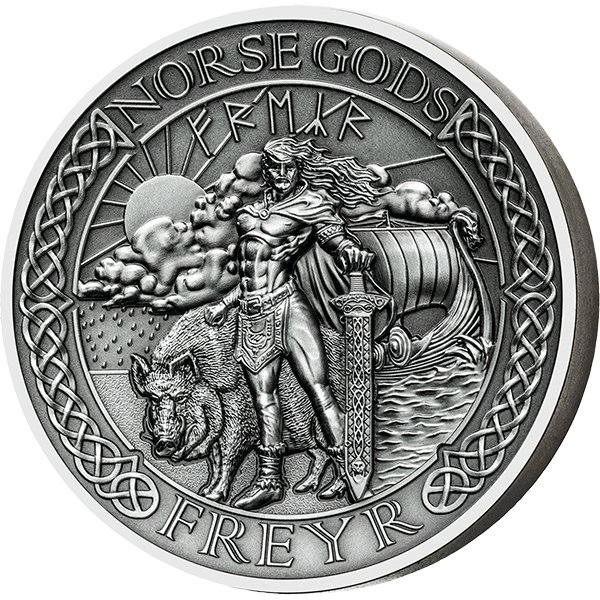 Cook Islands 2016 10$ The Norse Gods - Freyr 2 oz Antique finish Silver Coin