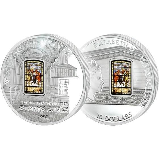 Cook Islands 2014 10$ Metropolitan Cathedral (Buenos Aires) Windows Of Heaven Proof-like Silver Coin
