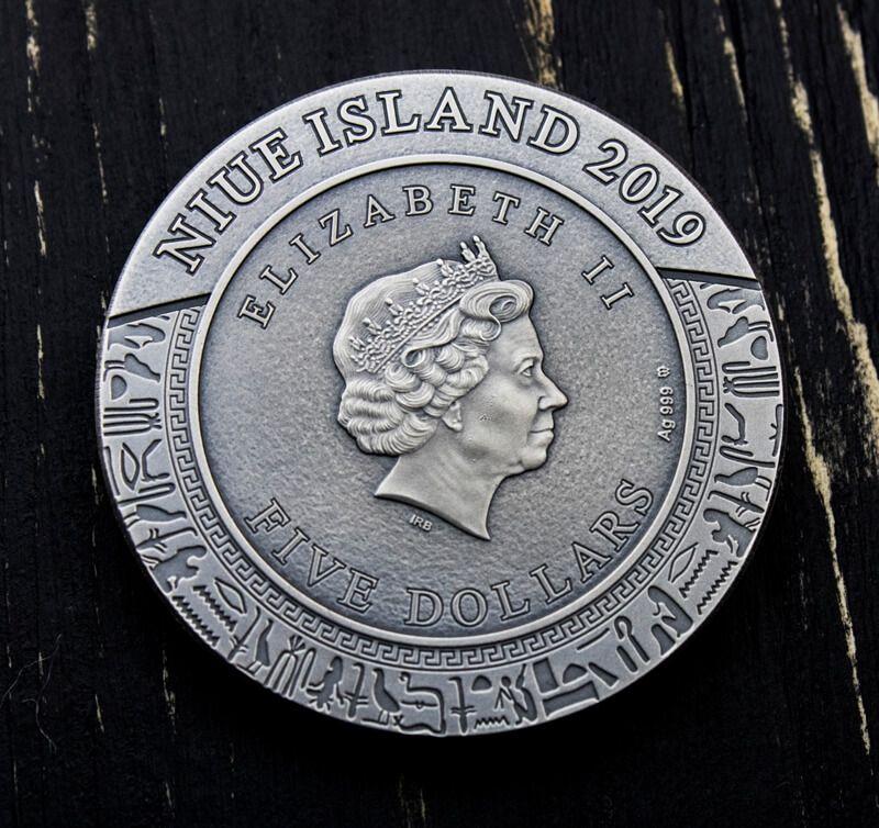 Anubis Gods of Anger 2 oz Antique finish Silver Coin 5$ Niue 2019