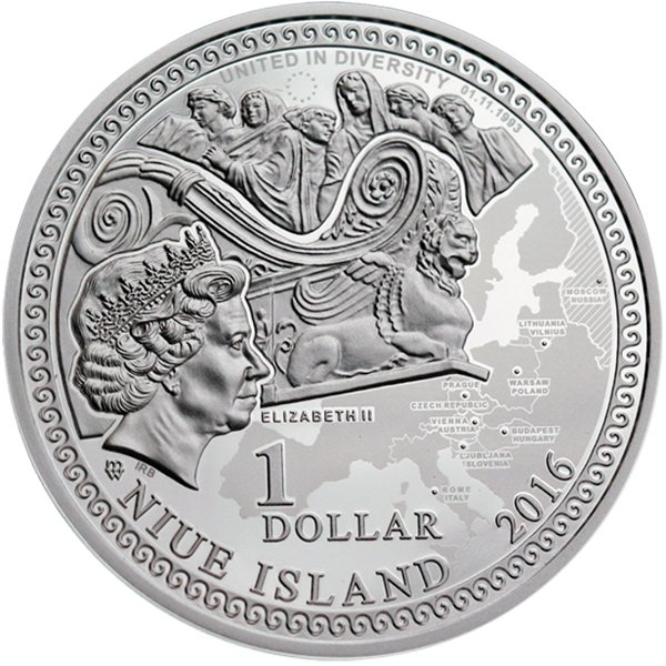 Gdansk Amber Road 2016  Proof Silver Coin 1$ Niue 2016