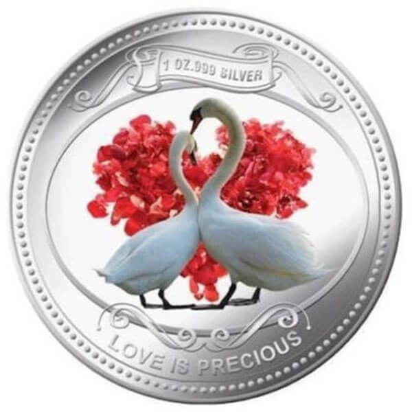 Love is Precious 2010 - White Swans Proof Silver Coin 2$ Niue 2010