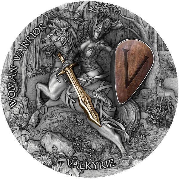 Valkyrie Woman Warrior 2 oz Antique finish Silver Coin 5$ Niue 2020
