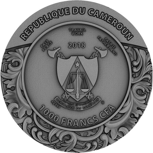 Carved Skull II 1 oz Antique finish Silver Coin 1000 Francs Cameroon 2018