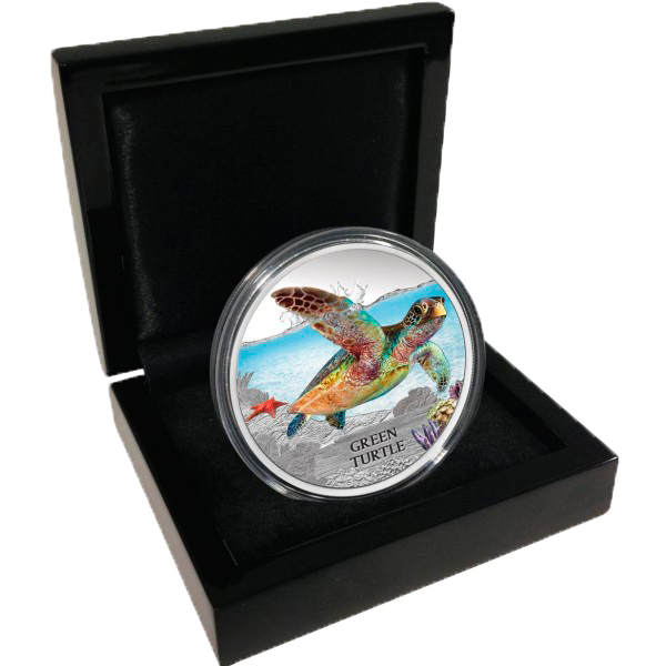 Tuvalu 2014 1$ Green Turtle Endangered and Extinct Proof Silver coin