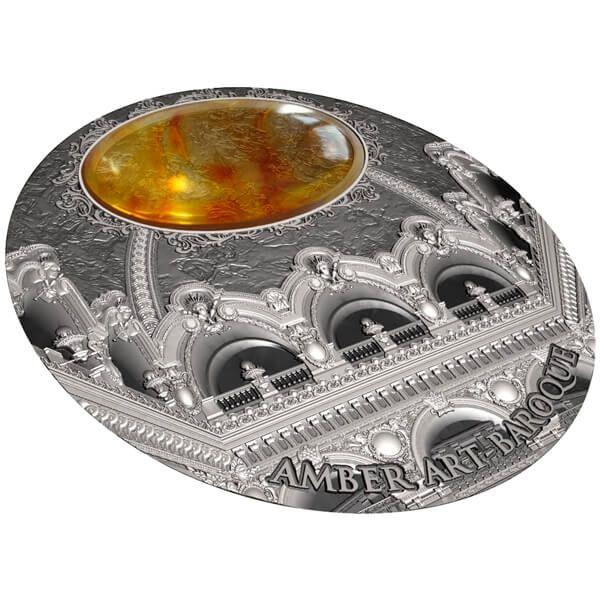 Niue 2016 5$ Baroque Amber Art 2 oz Antique Finish Silver Coin