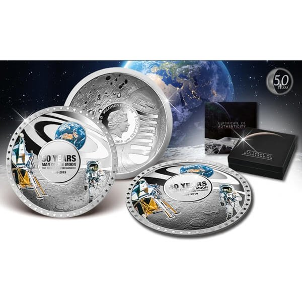 50 Years of Moonlanding Curved Coin 50g Proof Silver Coin 5$ Solomon Islands 2019