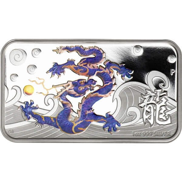 Year of the Dragon Rectangle - Blue Proof Silver Coin 1$ Cook Islands 2012