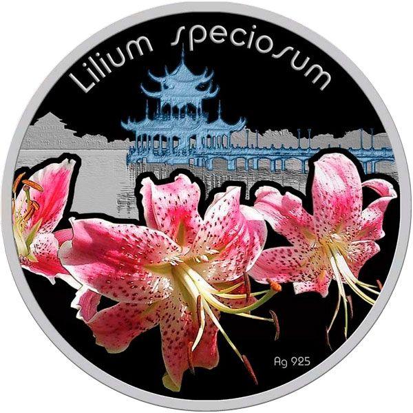 Lilium speciosum Lilium Proof Silver Coin 1$ Niue 2012
